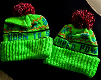 Amazing Neon Green Ski/Snowboard Hat - Born To Shred Pow