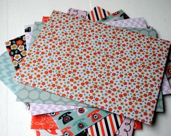 Aqua and Red Patterned Set of 10 Handmade Cardstock Envelopes by Paper Hearts Station on Etsy