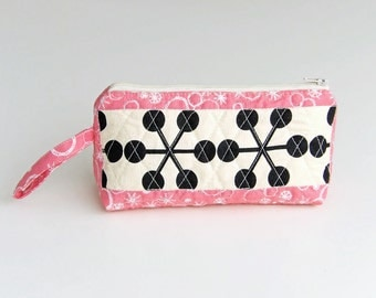 Fabric zipper purse, with bold black and white fabric and cute pink fabric - reduced for sale