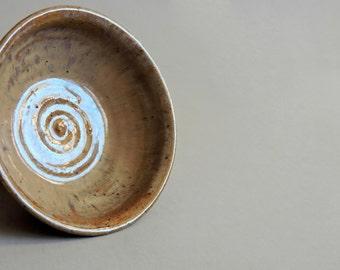 Vintage Studio Pottery. Handturned Glazed Ring Bowl. Small Organic Form Bowl Signed SH.