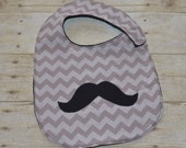 Mustache and Gray Chevron Toddler Bib for babies 1 year and up