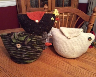 Crochet and Felted Chicken Clutches or Storage
