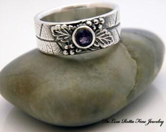 Recycled Silver, Genuine Amethyst, Dark Grape, Leaf, Engagement Ring, Wedding Band, Fashion Ring