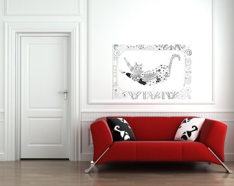Cat in bed sticker / Wall Decal / Cat Wall Sticker /