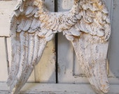 White ornate angel wings wall decor shabby cottage inspired distressed accents of gold decorative home decor anita spero