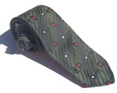 Vintage 1960s Skinny Green Tie with Red and White Squares Trevira