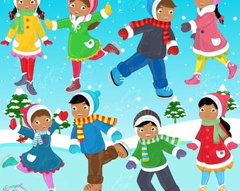 African-american Kids Skating Clipart Set