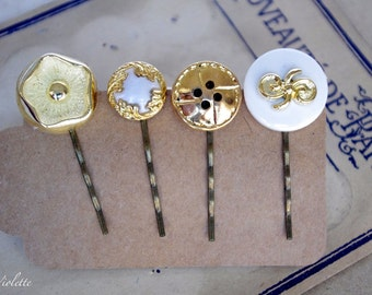 vintage upcycled button bobby pin set golden Hair Pin wedding bridal bridesmaids special occasion hair accessory