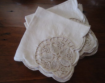 6 Vintage linen ecru embroidered, scalloped edge luncheon napkins