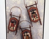 Prim Cross Stitch Pattern - 'Saltbox Sleds' by Foxwood Crossings