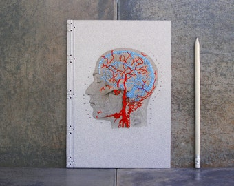 Brain Anatomy Journal. Embroidered Notebook. Anatomical Brain. Anatomy. Sciences Art. Anatomy Notebook. Gift for Doctor. Veins and Arteries