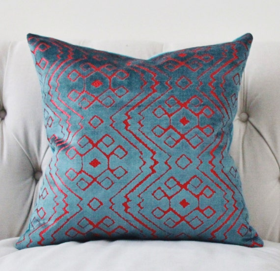 Modern Pillow Covers Etsy : Modern Geometric Pillow Cover Teal Blue Pink Velvet Pillow
