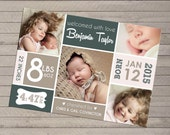 Photo Birth Announcement, Print yourself - For Baby Boy or Girl, Multiple Photo