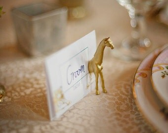 Jungle theme escort cards - Gold place cards - 50 magnets (25 full animals) pink and gold wedding