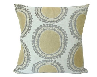 Yellow and Brown Ikat Designer Pillow Cover