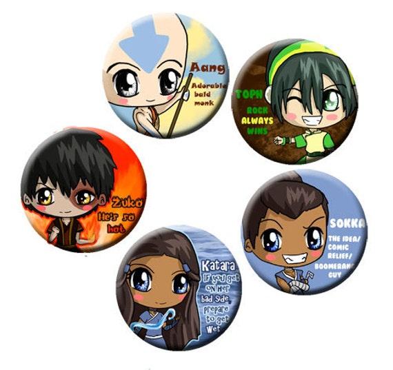 Avatar the Last Airbender Chibi Pinback Button Set - Aang, Zuko, Katara, Sokka, Toph, ATLA