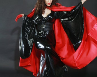 red satin long cape    robe with  big hood  and no sleeves Halloween cape and high fashion style.