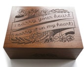 I Carry Your Heart Wooden Keepsake Box - Memory Box for Mother Day, Wood Box Wedding Gift, Wooden Box for Valentine Gift, Anniversary Gift