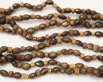 """Natural African Seed and Wood Beads 70"""" Strand, Organic Eco-Friendly Beads, African Jewelry Supplies (F10)"""