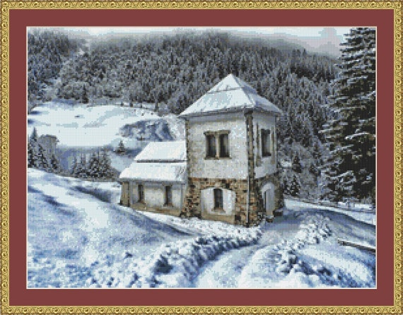 House In The Snow Cross Stitch Pattern /Digital PDF Files /Instant downloadable