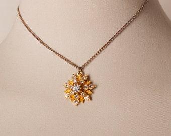 Vintage Rhinestone Snowflake Necklace