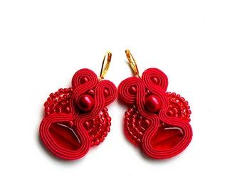 Red Rain -Earrings - Soutache Jewelry - Hand Embroidered