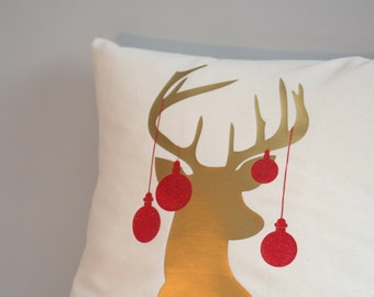 Holiday pillow cover, christmas pillow, antler deer pillow, christmas pillows, 16x16, 18x18, 20x20, 24x24, gold pillow