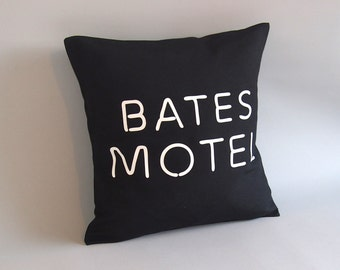Bates Motel Pillow cover - Throw pillow Bates Motel logo - 16 x 16 18 x 18 - Black accent pillow - Bates Motel decor