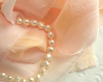 Hand Dyed Silk Ribbon - Raw Edge Craft Ribbon - Vintage Chic - Peace Rose