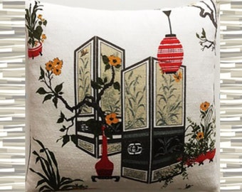 Pillow Barkcloth Asian Lantern Red Grey Green Gold and White
