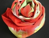 Plaid scarf in Red and green, scarves and wraps, fashion scarves, scarves for women, abstract art,hand painted, gifts for her