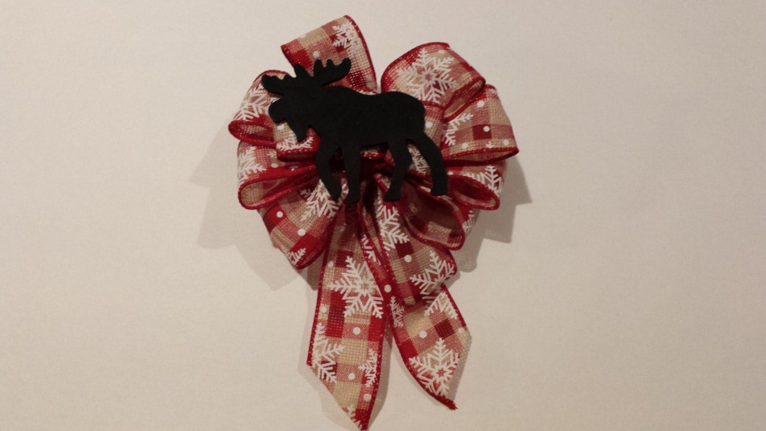 Red Plaid burlap with Snowflakes, & wooden black moose custom Christmas tree or wreath wired ribbon bow