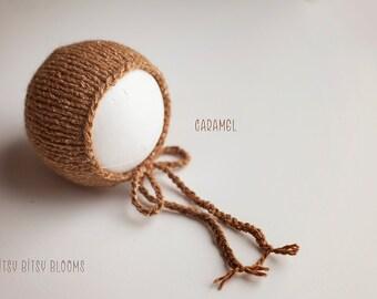 Sweet Tweed Bonnet, Hand Knit Newborn Bonnet, Baby Knit Hat, Newborn Tweed Bonnet, RTS
