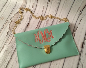Clutch Purse Coral and Mint Scallop Monogrammed Personalized Wristlets Bridesmaid