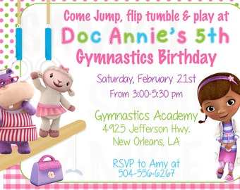 Doc McStuffins Inspired Girls Gymnastics Birthday - Princess Birthday Gymnatics theme Invitation - Printable File