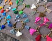 Tassel Bracelets Brass Bead bracelet Wholesale Jewelry Boho bracelet Beach bracelet Summer Bracelet Mini tassels Choice of colors