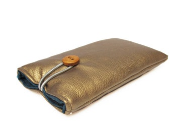 Case for iPhone, gold faux leather, cover fabric bag padded handmade 4S, 4, 5C, 6