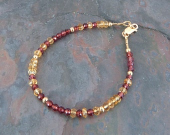 Faceted Garnet and Citrine Gemstone Stackable Bracelet, Handmade Deep Red and Gold Gem Strand, January Birthstone Jewelry