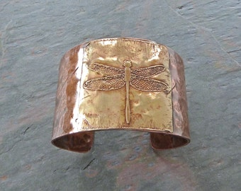 Hammered Copper Cuff with Etched Brass Dragonfly Medallion, Handmade, with Patina