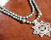 Double Strand of AfricanTurquoise Rounds with Ethiopian Cross Necklace
