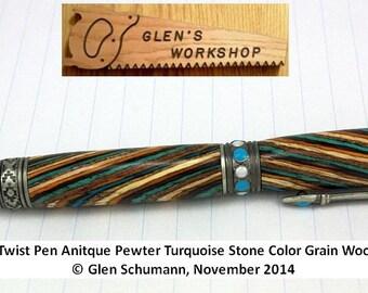 Ballpoint Pen Southwest Style Premium Pen Handmade Collectible Pen Antique Pewter Turquoise Stones Parker Pen
