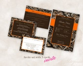 Wedding Invite Set TEMPLATE Instant Download printable (hunting camo 5X7 with 3 cards) Just add your info and print!