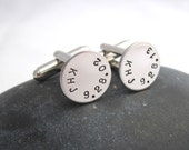 Custom Cuff Links - Personalized Initials and Date Cuff Links - Initials Date Cufflinks