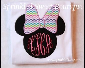 Disney Minnie Mouse Bow Mongram Custom Applique Shirt