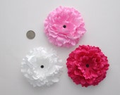 "Bulk Flowers, Craft Supplies, Hair Flowers, Headband Suppies, Large Pink White Berry 4.5"" Wholesale Lot Flower, Destash, Hair Accessories"