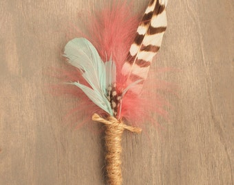 Rustic Natural Wedding Boutonniere Feather and Twine Buttonhole Everlasting Keepsake