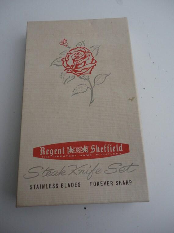 vintage unused regent sheffield steak knife set stainless. Black Bedroom Furniture Sets. Home Design Ideas