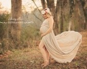 Rachel Maternity Dress in Sandstone/Nude, Maternity Photography Prop, Maternity Prop, Belly Dress,White Dress