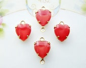 Vintage Red Moonstone Glass Heart Stones in Brass Drop or Connector Settings 9x8mm- 4