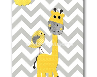 Yellow and Gray Giraffe Nursery Wall Art Baby Room Decor Baby Nursery Decor Baby Boy Nursery Decor Kids Wall Art Kids Art Boy Print